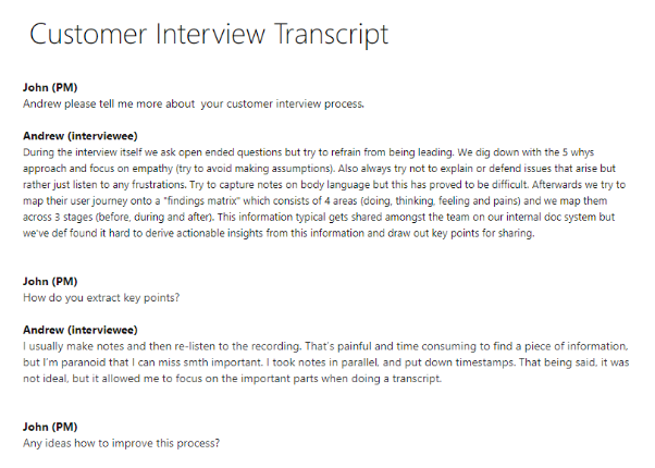 Customer interview transcript
