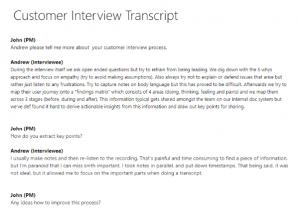 Customer interview transcript